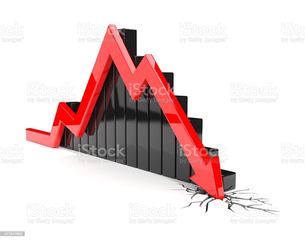 Red arrow crash stock photo