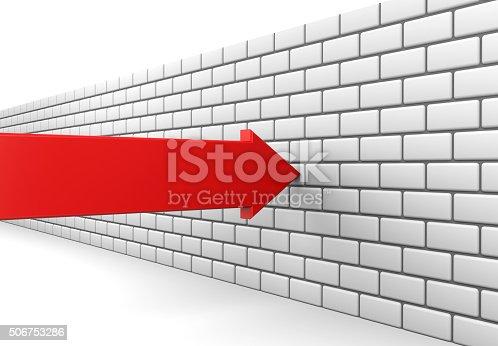 istock Red arrow crashes into a brick wall 506753286