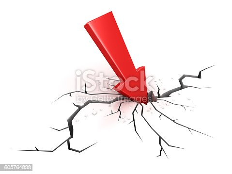 842160218istockphoto Red arrow crashes through the ground 605764838