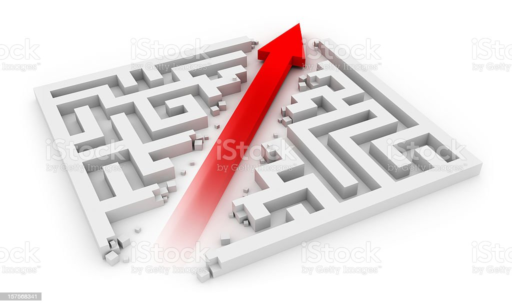 Red arrow cutting sideways through a white labyrinth stock photo
