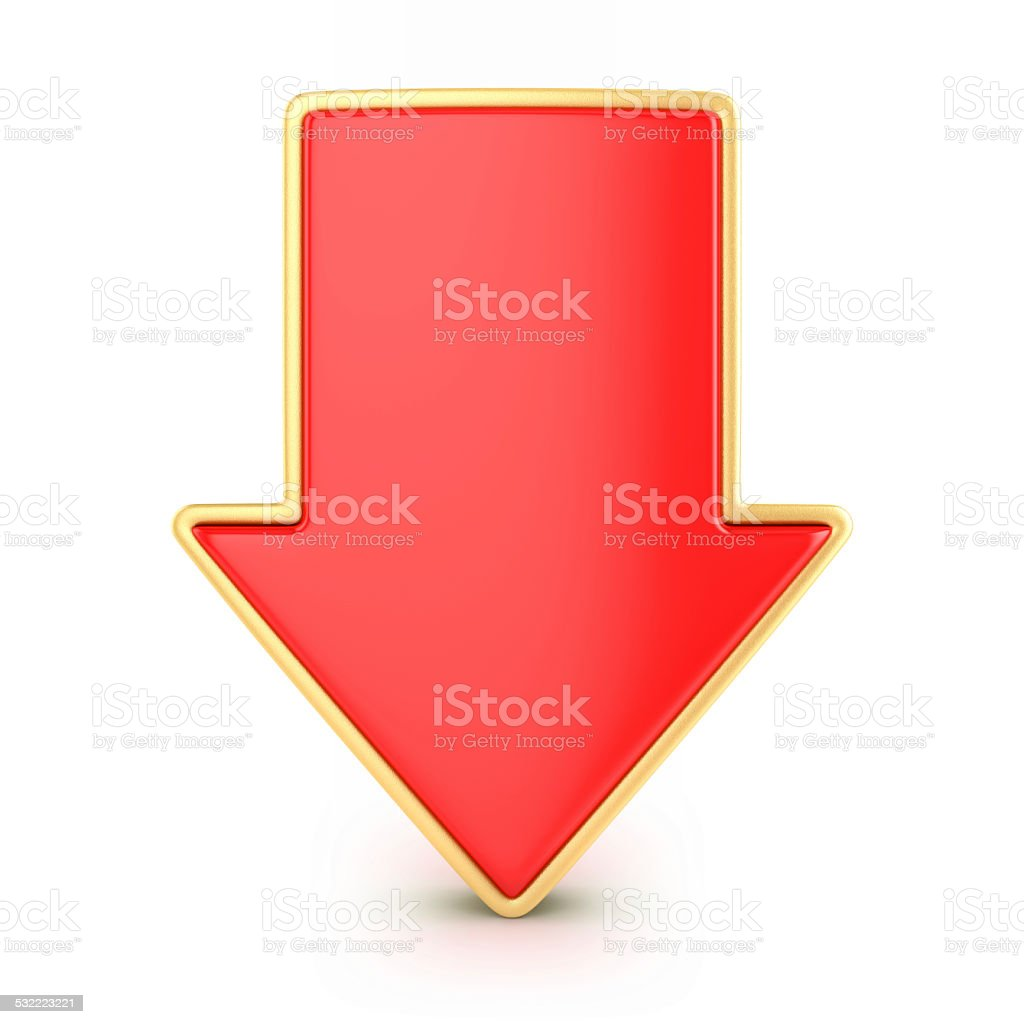 Red arrow down stock photo
