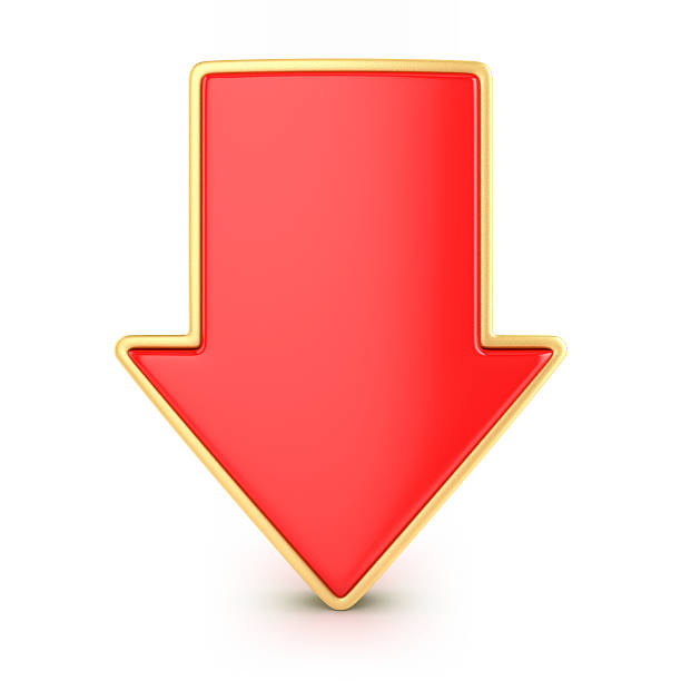 Red arrow down Red arrow pointed down, 3d render depreciation stock pictures, royalty-free photos & images