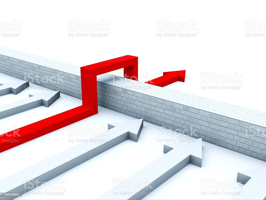 Red arrow going over wall to pass arrows stopped at the wall royalty-free stock photo