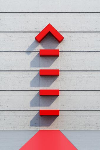 1062884120 istock photo red arrow going upward 1053834178