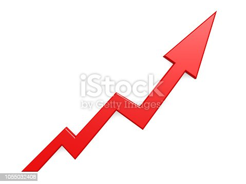 istock Red arrow graph growth up background 1055032408