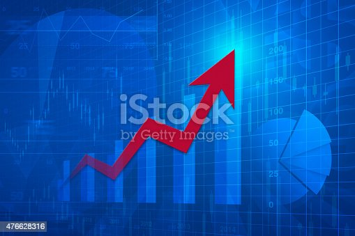 istock Red arrow head with financial chart and graph, success business 476628316