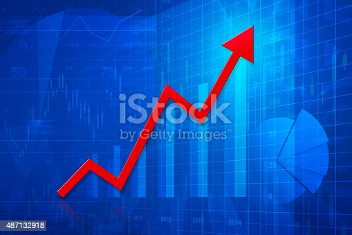 istock Red arrow head with financial graph, success business 487132918