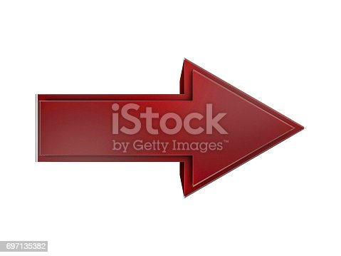 838721578 istock photo Red Arrow Icon Sign. 3D rendering 697135382