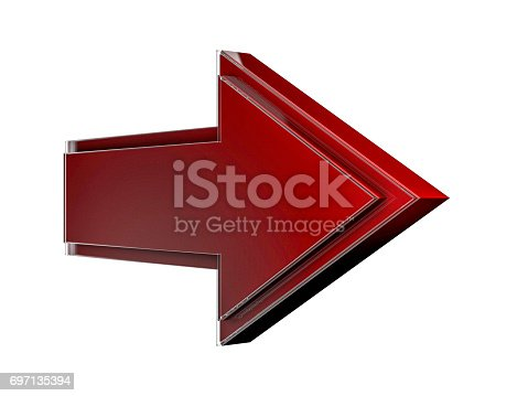 838721578 istock photo Red Arrow Icon Sign. 3D rendering 697135394