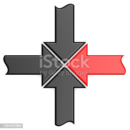 istock Red arrow join 1054532862