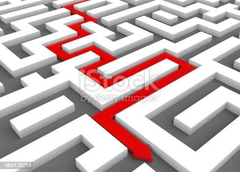 954744070 istock photo Red arrow leads through a maze 485475214