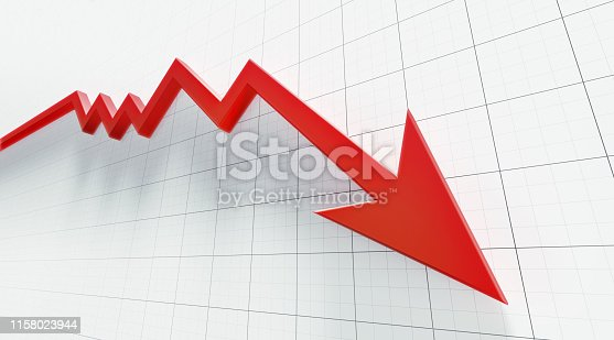 Red arrow symbol forming a line graph over a graph paper background.  Low angle view. Horizontal composition with copy space.