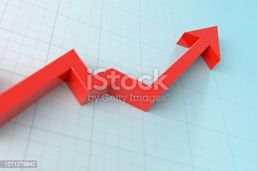 Red arrow symbol forming a line graph over a graph background.