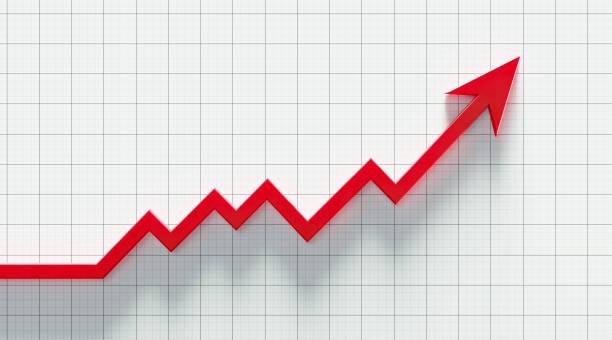 flecha roja subiendo sobre el fondo del papel gráfico - arrows fotografías e imágenes de stock