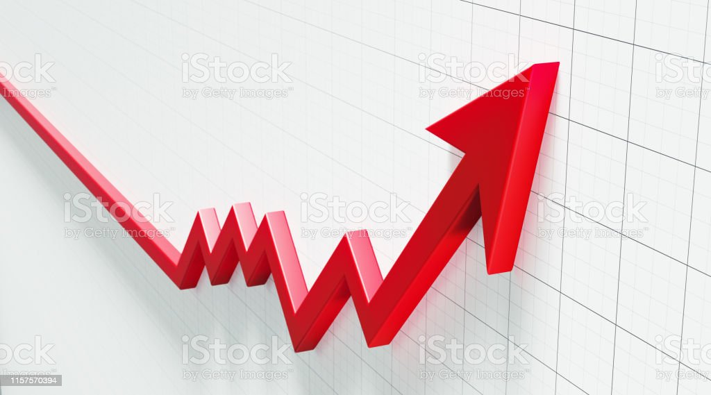 Red arrow symbol forming a line graph over a graph paper background....