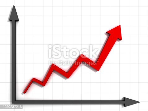 Red rising arrow graph chart on white wall background with shadow 3D rendering