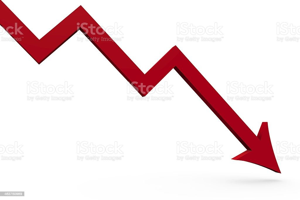 A red arrow, probably from a computer chart, pointing down. stock photo