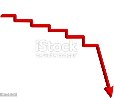 182237699 istock photo Red arrow step down direction with staircase, 3d illustration isolated on white background 917563004