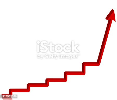 182237699 istock photo Red arrow step up, 3d illustration on white background 917563028