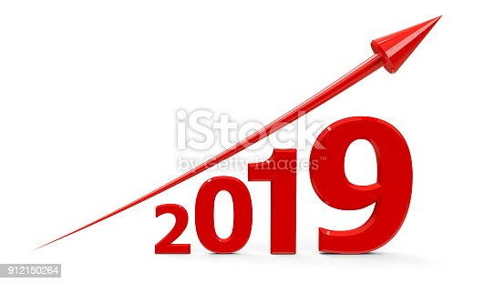 istock Red arrow up with 2019 912150264