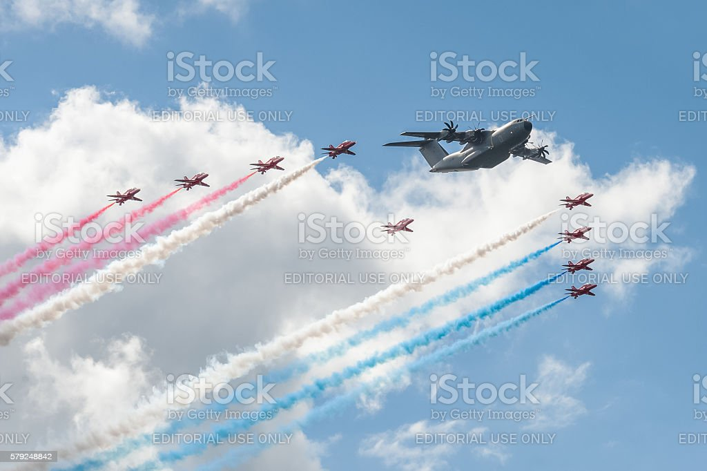 Red Arrows and Airbus A400M stock photo