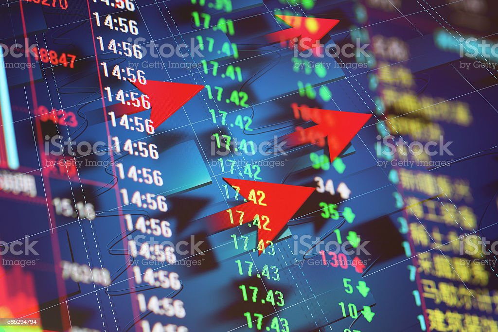 Red arrows and stock market data stock photo