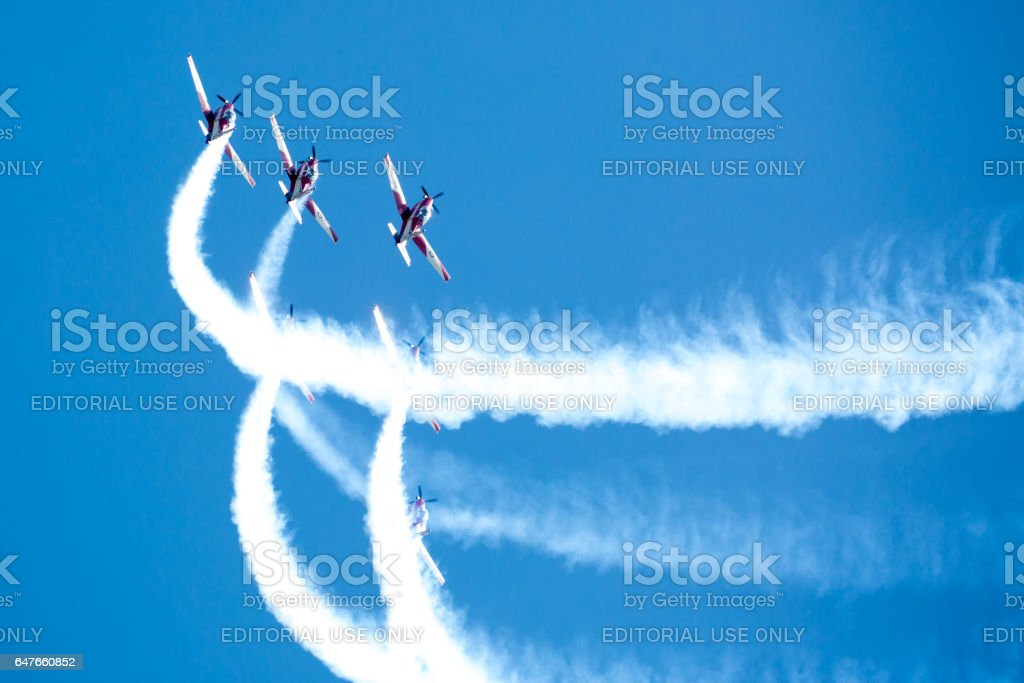 RAF Red Arrows Performing a Show stock photo