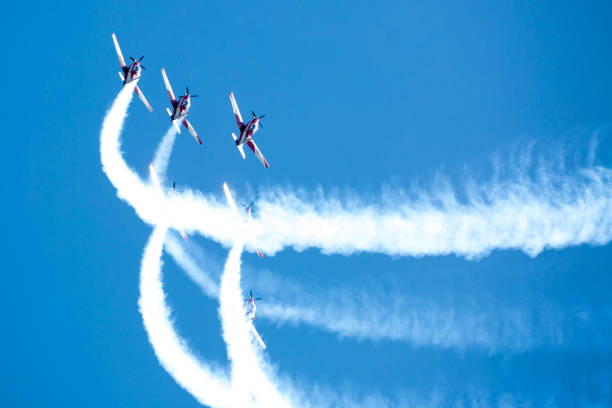 raf red arrows performing a show - airshow stock photos and pictures