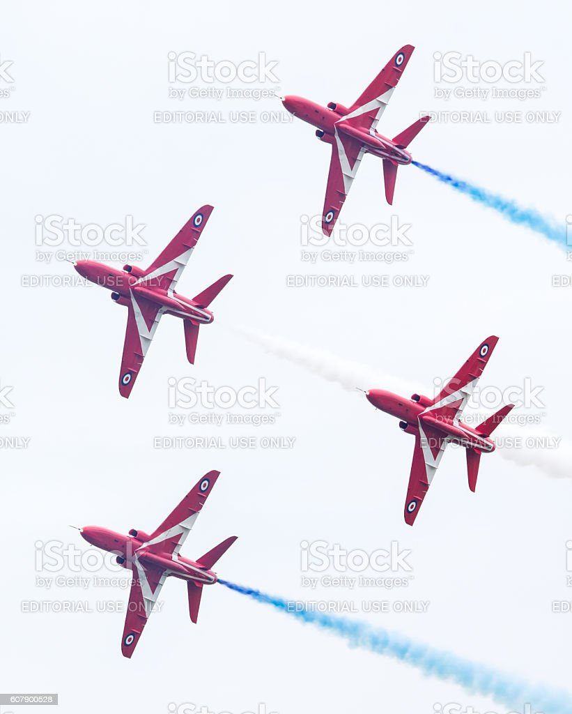 RAF Red Arrows performing stock photo