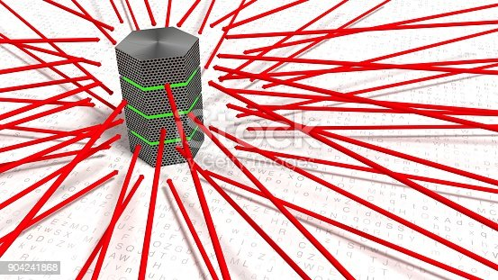 Red arrows pointing towards a server brute force attack concept 3D illustration