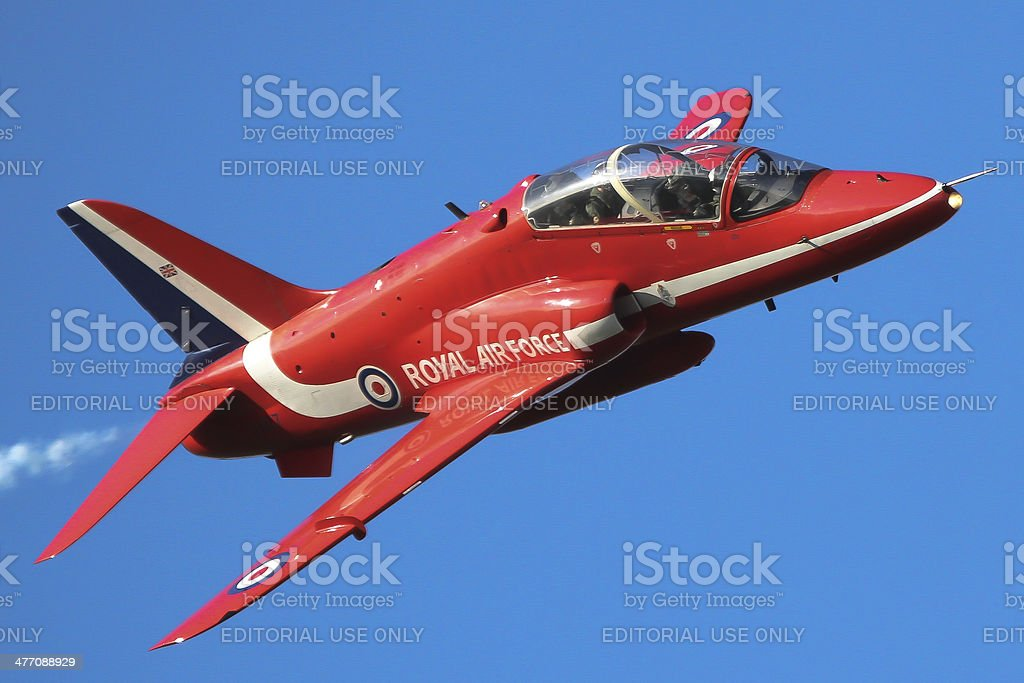 Red Arrows - single Hawk jet stock photo