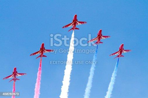 istock Red Arrows teamwork beautiful blue sky 458282873