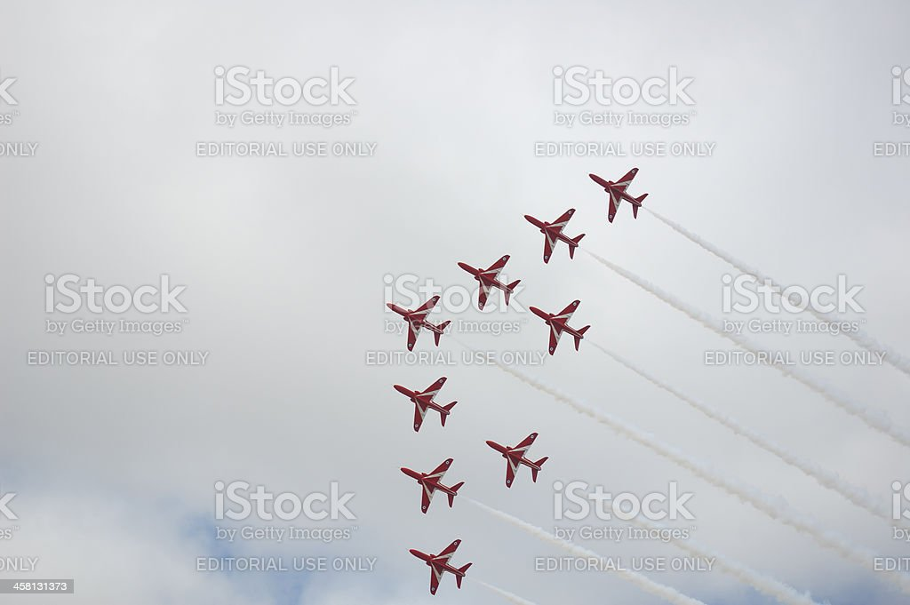 Red Arrows - Vixen Formation royalty-free stock photo