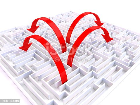 istock Red arrows Where in the labyrinth 860169688