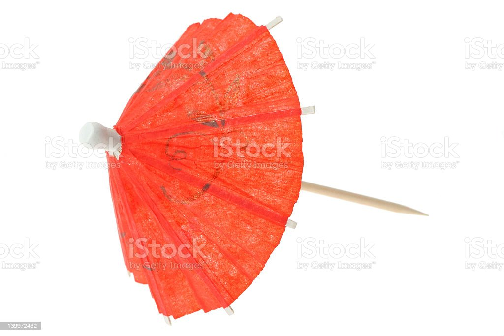 red asian cocktail umbrella on pure white background stock photo