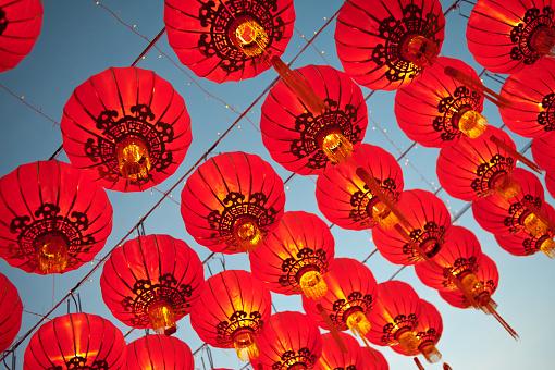 Asian lanterns during a religious festival.