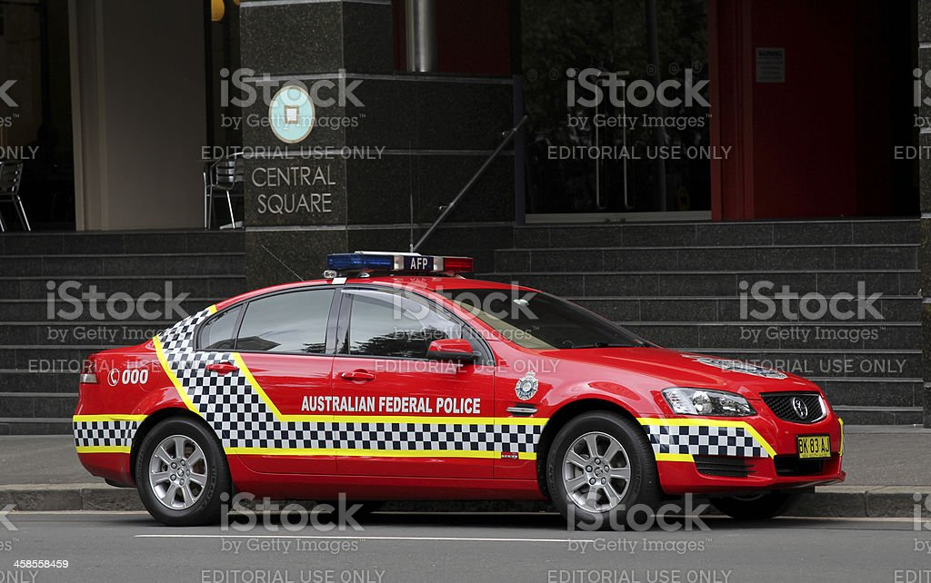 Red Australian Federal Police Car Stock Photo - Download Image Now