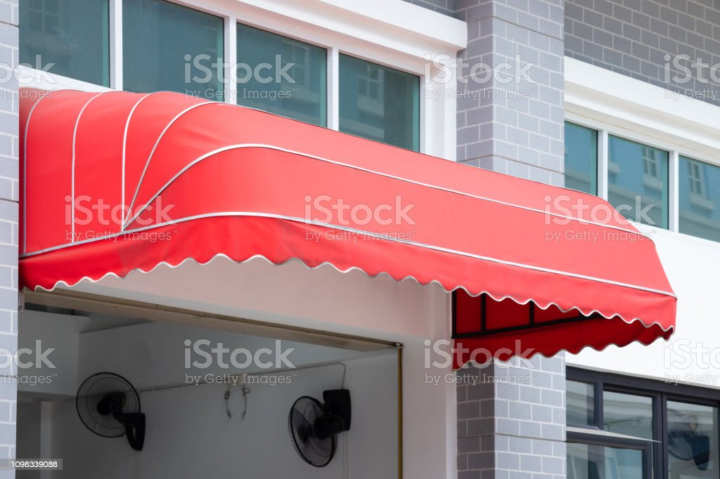 Red Awning Canvas Shading Over Building Entrance Stock Photo Download Image Now Istock
