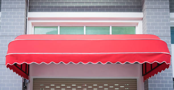 Red awning stock photo