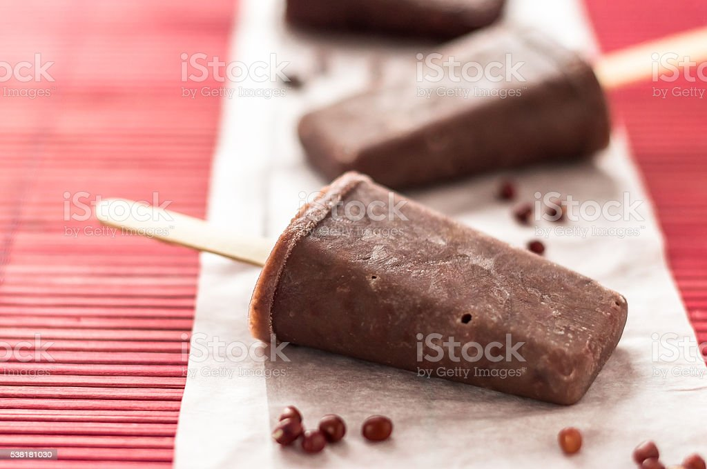 Red azuki beans ice pops stock photo