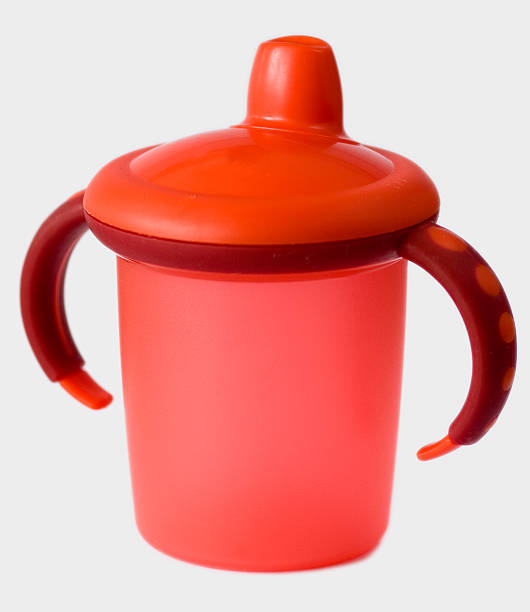 red baby sip cup stock photo