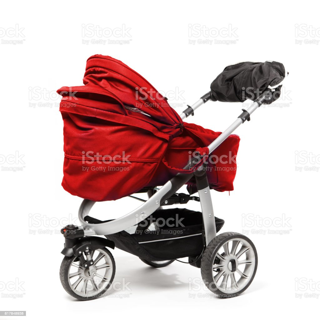 red baby stroller isolated on white stock photo