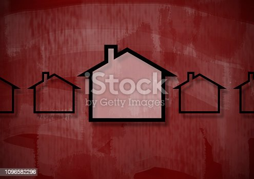 istock HOUSE CONCEPT / Red background (Click for more) 1096582296