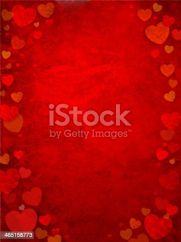 istock Red background with different sized hearts as borders 465158773