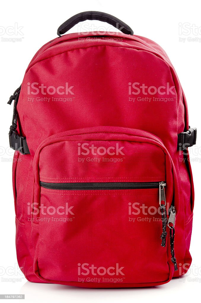 Red backpack standing on white background stock photo