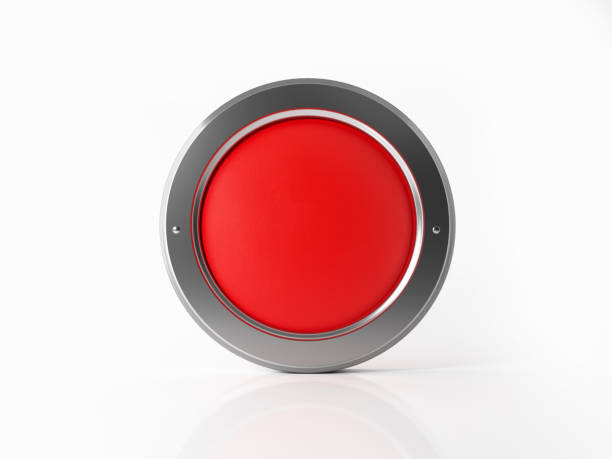 red badge with a silver frame on white background - button stock photos and pictures