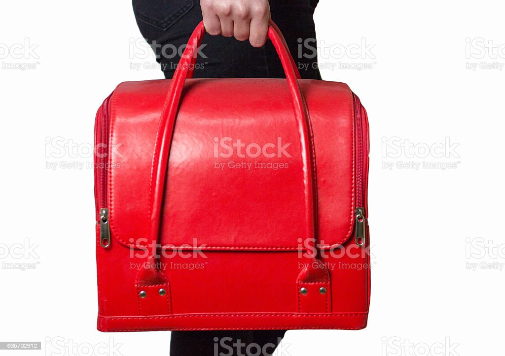 Red bag in girl's hands royalty-free stock photo