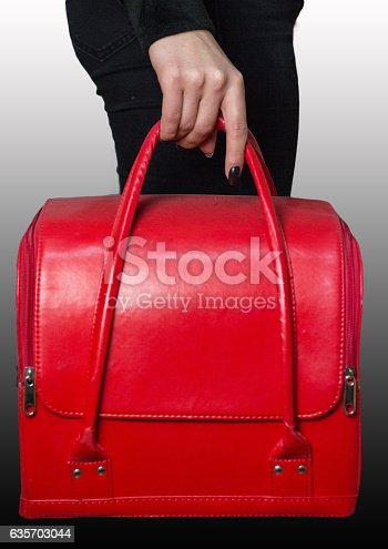 Red Bag In Girls Hands Stock Photo & More Pictures of Adult