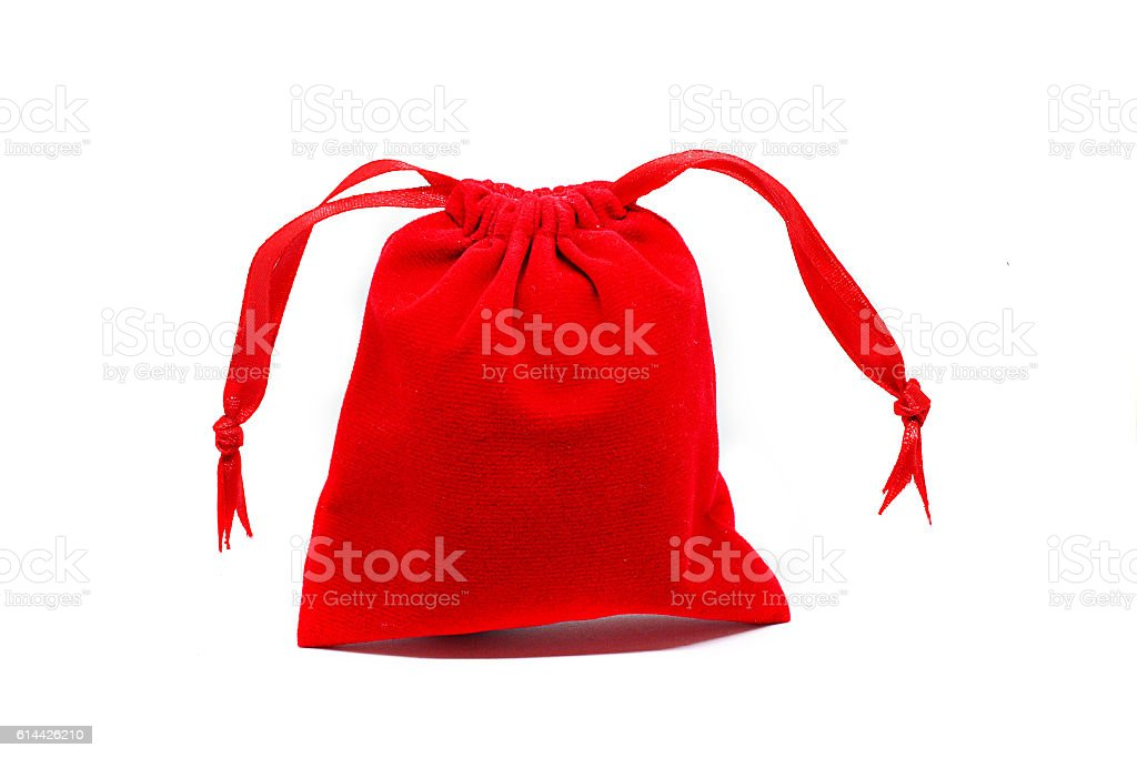 Red bag on white background stock photo