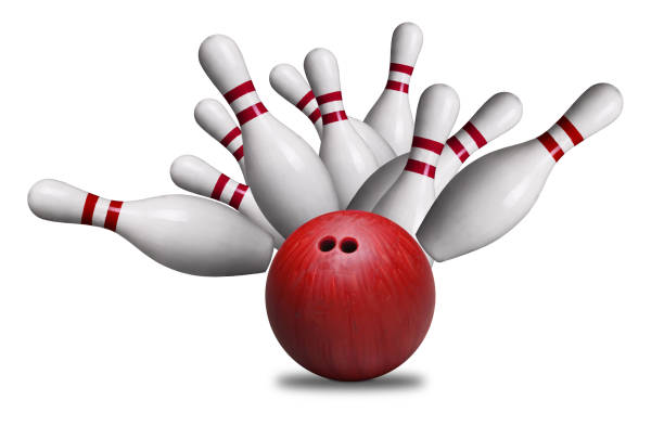 Red Ball Hitting Pins in Bowling Strike Isolated on White Background stock photo